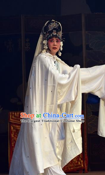 Chinese Hebei Clapper Opera Garment Costumes and Headdress Dou E Yuan Traditional Bangzi Opera Distress Maiden White Dress Actress Apparels