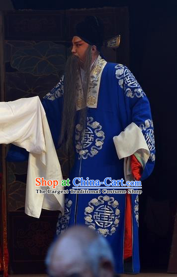Dou E Yuan Chinese Bangzi Opera Laosheng Apparels Costumes and Headpieces Traditional Hebei Clapper Opera Garment Elderly Male Clothing