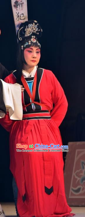 Chinese Hebei Clapper Opera Female Prisoner Garment Costumes and Headdress Dou E Yuan Traditional Bangzi Opera Distress Maiden Red Dress Apparels