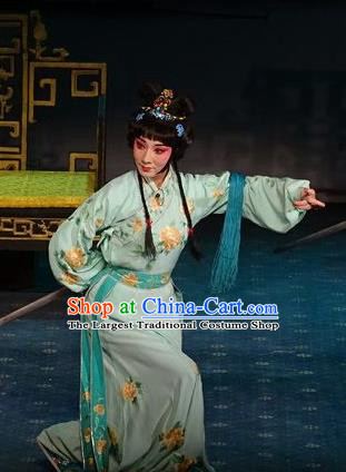 Chinese Hebei Clapper Opera Young Lady Garment Costumes and Headdress Tai Cheng Liu Traditional Bangzi Opera Hua Tan Dress Actress Apparels