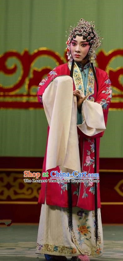 Chinese Hebei Clapper Opera Actress Garment Costumes and Headdress Broadsword Wang Huainv Traditional Bangzi Opera Hua Tan Dress Young Female Apparels