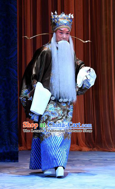 Xue Gang Fan Tang Chinese Bangzi Opera Elderly Male Apparels Costumes and Headpieces Traditional Hebei Clapper Opera Laosheng Garment Official Xu Ce Clothing