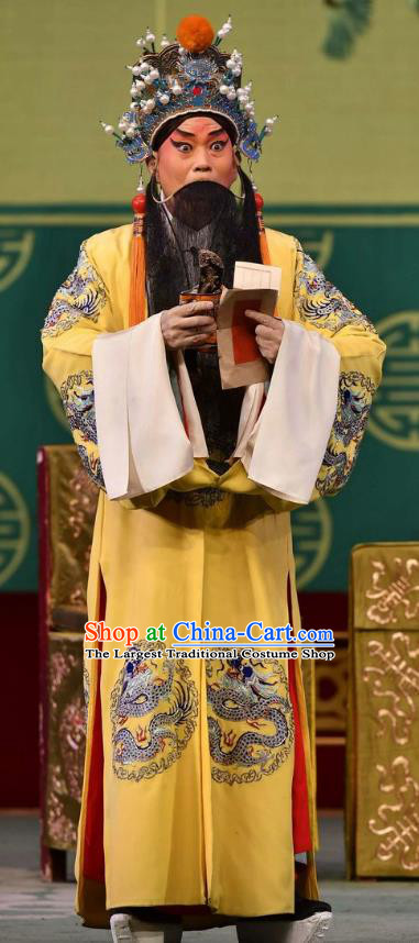 Broadsword Wang Huainv Chinese Bangzi Opera Laosheng Apparels Costumes and Headpieces Traditional Hebei Clapper Opera Garment Elderly Male Clothing