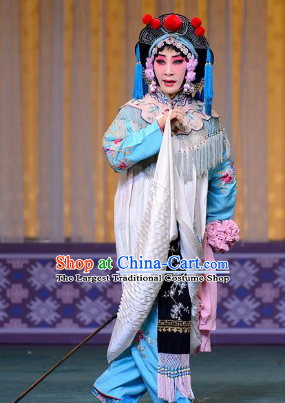 Chinese Hebei Clapper Opera Fisher Maiden Garment Costumes and Headdress The Butterfly Chalice Traditional Bangzi Opera Village Girl Dress Diva Hu Fenglian Apparels