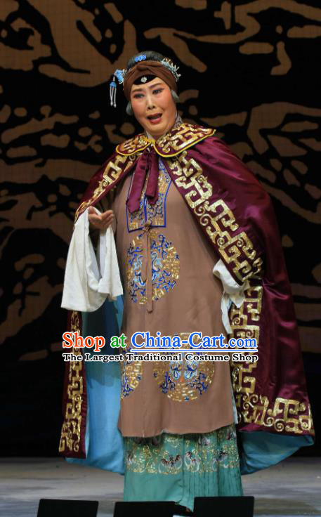 Chinese Hebei Clapper Opera Dowager Countess Garment Costumes and Headdress Kou Zhun Traditional Bangzi Opera Laodan Dress Dame She Saihua Apparels