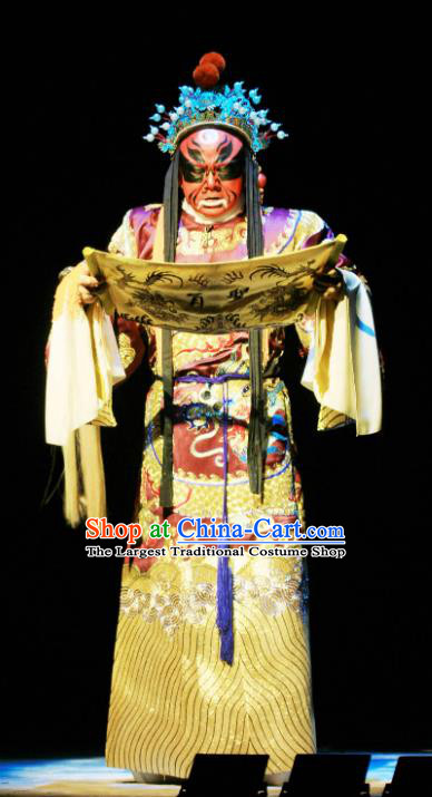 Kou Zhun Chinese Bangzi Opera Painted Role Apparels Costumes and Headpieces Traditional Hebei Clapper Opera Minister Garment Official Clothing