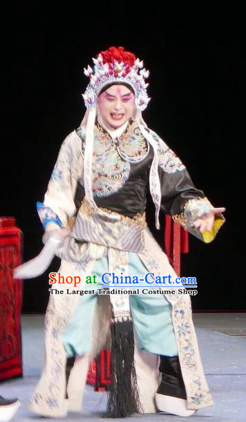 Chun Qiu Bi Chinese Bangzi Opera Martial Male Apparels Costumes and Headpieces Traditional Hebei Clapper Opera Wusheng Garment Military Officer Clothing
