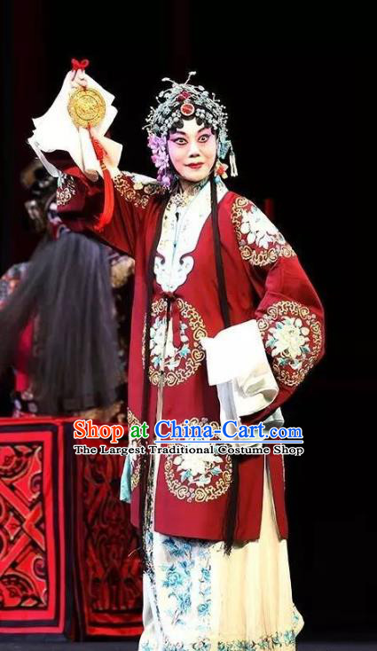 Chinese Hebei Clapper Opera Young Mistress Garment Costumes and Headdress Chun Qiu Bi Traditional Bangzi Opera Hua Tan Dress Actress Apparels