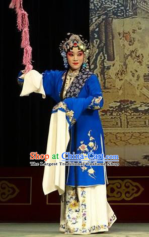 Chinese Hebei Clapper Opera Young Female Garment Costumes and Headdress Chun Qiu Bi Traditional Bangzi Opera Actress Dress Diva Gu Fengying Apparels