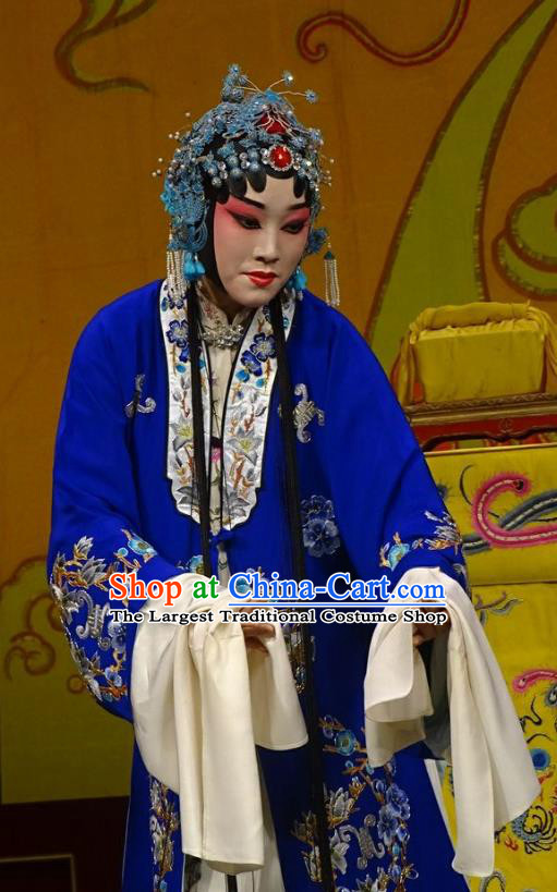 Chinese Hebei Clapper Opera Hua Tan Garment Costumes and Headdress Chun Qiu Bi Traditional Bangzi Opera Diva Gu Fengying Dress Dame Apparels