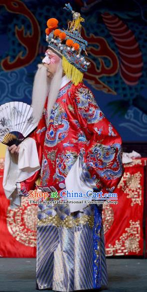 The Butterfly Chalice Chinese Bangzi Opera Commander Lu Lin Apparels Costumes and Headpieces Traditional Hebei Clapper Opera Garment Laosheng Clothing