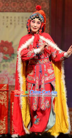 Chinese Hebei Clapper Opera Actress Mu Guiying Garment Costumes and Headdress Yuan Men Zhan Zi Traditional Bangzi Opera Martial Female Dress Wudan Apparels