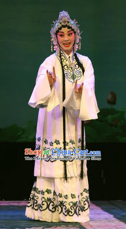 Chinese Hebei Clapper Opera Diva Bai Suzhen Garment Costumes and Headdress Madam White Snake Traditional Bangzi Opera Hua Tan Dress Young Female Apparels