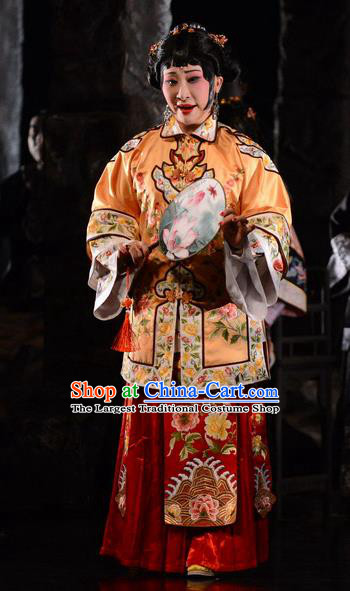 Chinese Hebei Clapper Opera Rich Madam Garment Costumes and Headdress Golden Lock Notes Traditional Bangzi Opera Young Mistress Cao Qiqiao Dress Actress Apparels