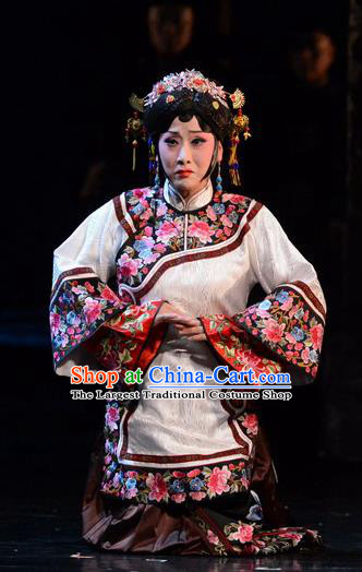 Chinese Hebei Clapper Opera Rich Female Garment Costumes and Headdress Golden Lock Notes Traditional Bangzi Opera Young Mistress Dress Actress Apparels