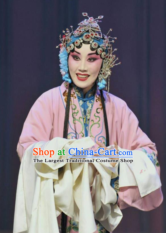 Chinese Hebei Clapper Opera Actress Garment Costumes and Headdress Traditional Bangzi Opera Young Female Dress Hua Tan Lin Huiying Apparels