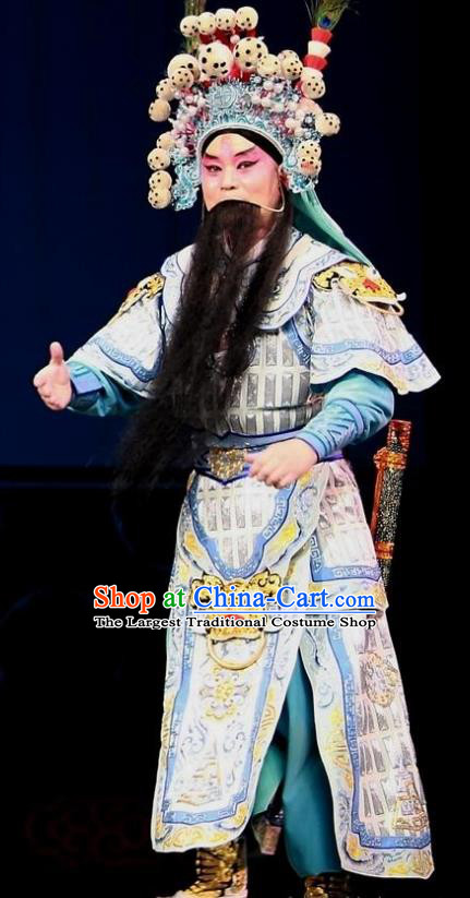 Chinese Bangzi Opera General Wu Han Apparels Costumes and Headpieces Traditional Hebei Clapper Opera Takefu Garment Martial Male Clothing