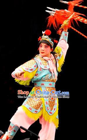 The Lotus Lantern Chinese Bangzi Opera Wusheng Liu Chenxiang Apparels Costumes and Headpieces Traditional Hebei Clapper Opera Young Boy Garment Clothing