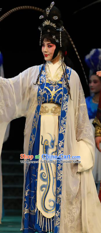 Chinese Hebei Clapper Opera Princess Garment Costumes and Headdress Te Bai City Traditional Bangzi Opera Hua Tan Dress Actress Apparels