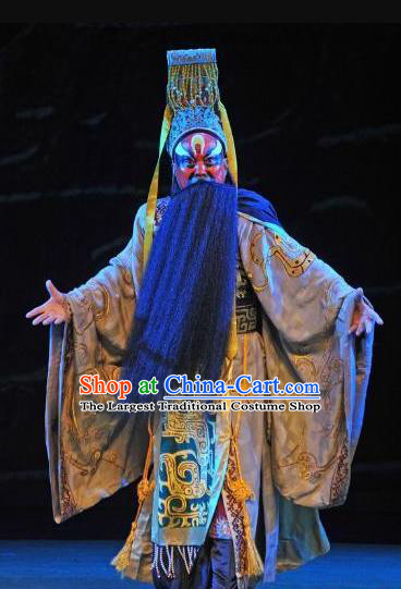 Te Bai City Chinese Bangzi Opera Painted Role Apparels Costumes and Headpieces Traditional Hebei Clapper Opera Emperor Garment Lord Clothing