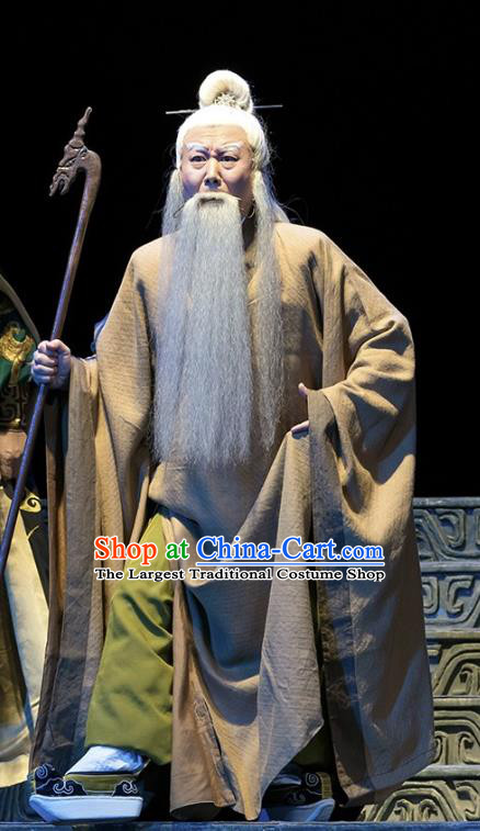 Te Bai City Chinese Bangzi Opera Elderly Male Apparels Costumes and Headpieces Traditional Hebei Clapper Opera Laosheng Garment Clothing