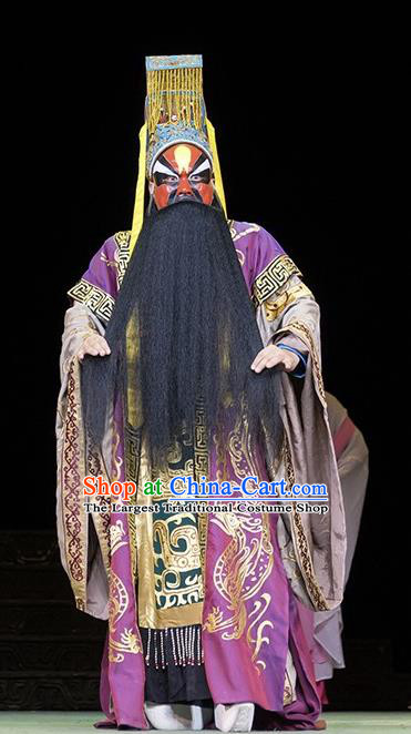 Te Bai City Chinese Bangzi Opera Lord Apparels Costumes and Headpieces Traditional Hebei Clapper Opera Painted Role Garment King Clothing