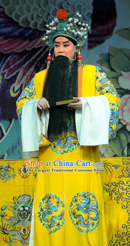 Da Jin Zhi Chinese Bangzi Opera Tang Emperor Apparels Costumes and Headpieces Traditional Shanxi Clapper Opera Laosheng Garment Elderly Lord Clothing