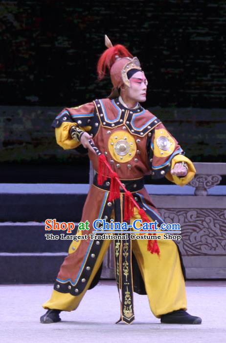 Chinese Bangzi Opera Soldier Apparels Costumes and Headpieces Traditional Shanxi Clapper Opera Wusheng Garment Martial Male Clothing