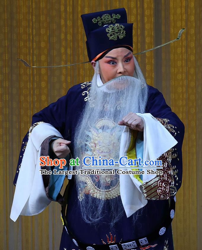 In Extremely Good Fortune Chinese Bangzi Opera Official Qiao Xuan Apparels Costumes and Headpieces Traditional Hebei Clapper Opera Laosheng Garment Elderly Male Clothing