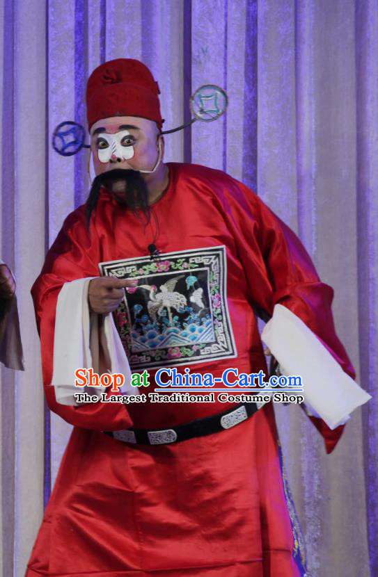 Chinese Bangzi Opera Magistrate Apparels Costumes and Headpieces Traditional Shanxi Clapper Opera Clown Garment Red Official Clothing