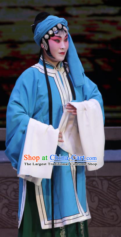 Chinese Shanxi Clapper Opera Village Girl Garment Costumes and Headdress Traditional Bangzi Opera Country Woman Dress Diva Zhang Cuigu Apparels