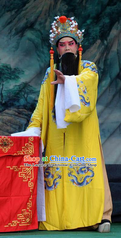 Chinese Bangzi Opera Laosheng Apparels Elderly Male Costumes and Headpieces Traditional Shanxi Clapper Opera Emperor Garment Monarch Clothing