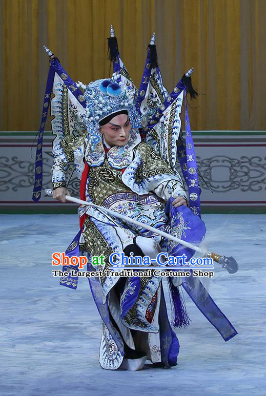 In Extremely Good Fortune Chinese Bangzi Opera General Zhao Yun Apparels Costumes and Headpieces Traditional Hebei Clapper Opera Martial Male Garment Kao Clothing with Flags