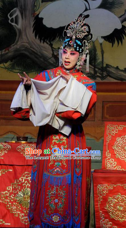 Chinese Shanxi Clapper Opera Imperial Consort Feng Xiangluo Garment Costumes and Headdress Xiang Luo Hen Traditional Bangzi Opera Hua Tan Dress Court Lady Apparels