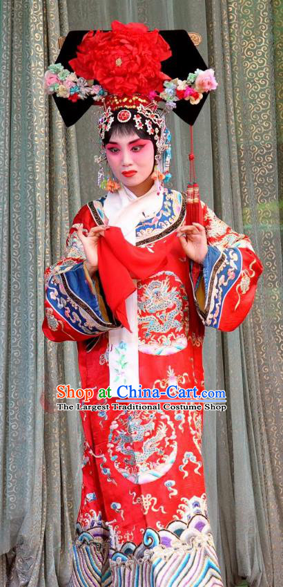Chinese Shanxi Clapper Opera Princess Tao Hua Garment Costumes and Headdress San Guan Pai Yan Traditional Bangzi Opera Hua Tan Dress Court Lady Apparels