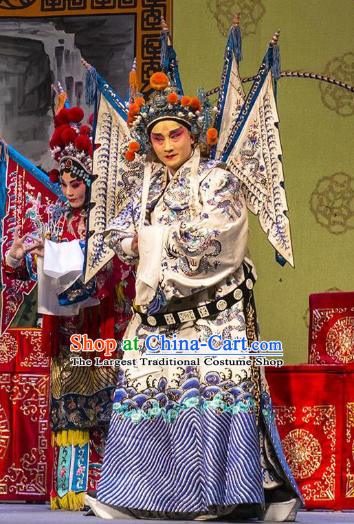 San Guan Pai Yan Chinese Bangzi Opera Military Officer Apparels Costumes and Headpieces Traditional Shanxi Clapper Opera General Garment Yang Zongbao Kao Clothing with Flags