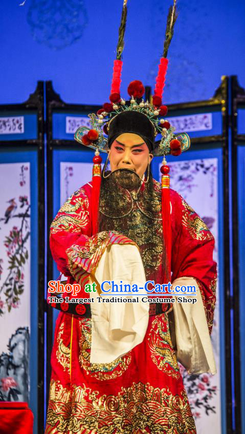 San Guan Pai Yan Chinese Bangzi Opera Military Officer Yang Yanhui Apparels Costumes and Headpieces Traditional Shanxi Clapper Opera Elderly Male Garment Clothing