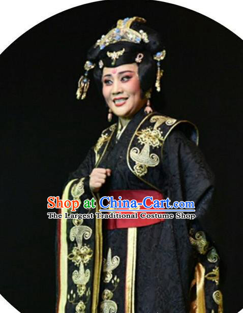 Chinese Shanxi Clapper Opera Queen Feng Yan Garment Costumes and Headdress Ping Cheng Fu Traditional Bangzi Opera Actress Black Dress Diva Apparels