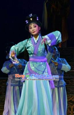 Chinese Shanxi Clapper Opera Court Maid Feng Yan Garment Costumes and Headdress Ping Cheng Fu Traditional Bangzi Opera Actress Dress Young Lady Apparels