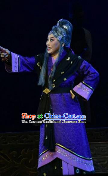 Chinese Shanxi Clapper Opera Elderly Female Garment Costumes and Headdress Ping Cheng Fu Traditional Bangzi Opera Pantaloon Dress Dame Apparels