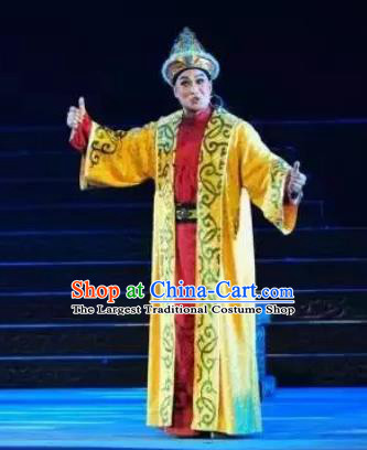 Ping Cheng Fu Chinese Bangzi Opera Young Male Apparels Costumes and Headpieces Traditional Shanxi Clapper Opera Xiaosheng Garment Crown Prince Clothing
