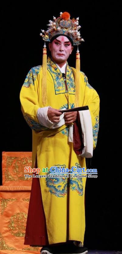 Pan Yang Song Chinese Bangzi Opera Royal Highness Zhao Defang Apparels Costumes and Headpieces Traditional Shanxi Clapper Opera Laosheng Garment Lord Clothing