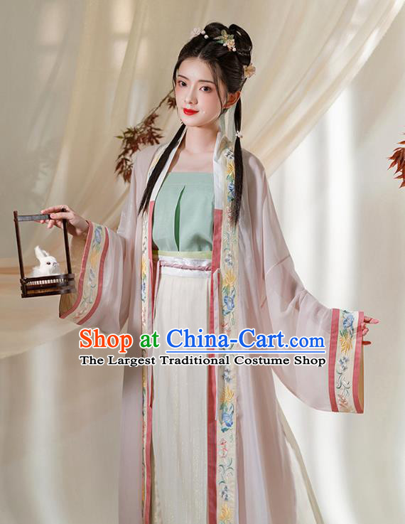 Chinese Ancient Young Lady Embroidered Hanfu Dress Apparels Traditional Song Dynasty Civilian Girl Historical Costumes Complete Set
