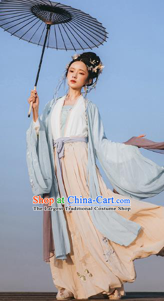 Chinese Ancient Imperial Consort Embroidered Hanfu Dress Apparels Traditional Jin Dynasty Court Princess Historical Costumes for Women