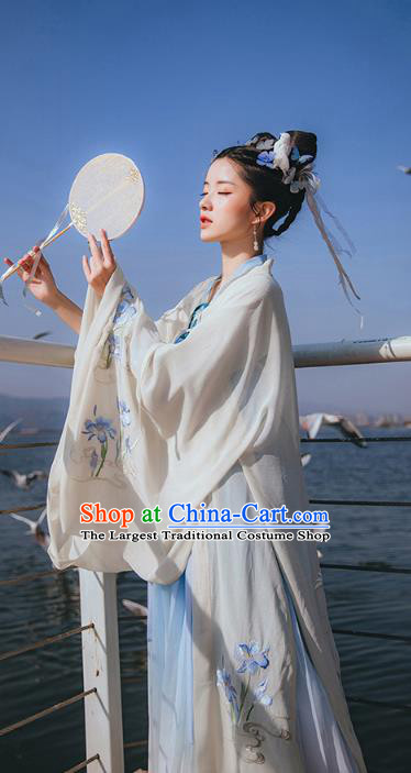 Chinese Ancient Nobility Lady Embroidered Hanfu Dress Apparels Traditional Tang Dynasty Palace Princess Historical Costumes for Rich Women