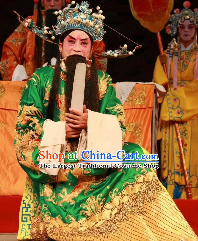 Pan Yang Song Chinese Bangzi Opera Elderly Male Apparels Costumes and Headpieces Traditional Shanxi Clapper Opera Official Kou Zhun Garment Laosheng Clothing