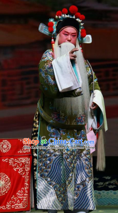 Er Jin Gong Chinese Bangzi Opera Ministry Official Yang Bo Apparels Costumes and Headpieces Traditional Shanxi Clapper Opera Elderly Male Garment Laosheng Clothing