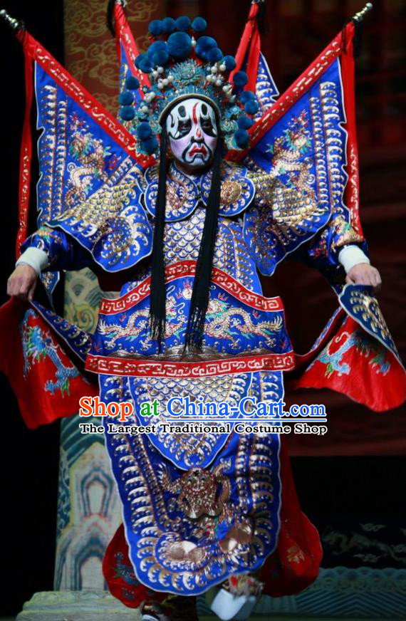 Er Jin Gong Chinese Bangzi Opera General Blue Kao Apparels Costumes and Headpieces Traditional Shanxi Clapper Opera Jing Garment Armor Clothing with Flags