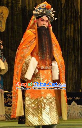 Loyal To Imperial Family Chinese Bangzi Opera Emperor Song Apparels Costumes and Headpieces Traditional Shanxi Clapper Opera Laosheng Garment Lord Clothing