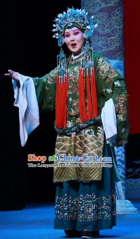 Chinese Shanxi Clapper Opera Laodan Garment Costumes and Headdress Loyal To Imperial Family Traditional Bangzi Opera Elderly Female Dress Pantaloon She Saihua Apparels